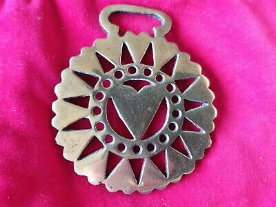 Vintage 16 Hearts Brass Horse Medallion for Bridle Harness ornament England