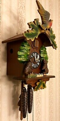 GERMAN BLACK FOREST ANIMATED ROCKING BEARS CUCKOO CLOCK EUC!! Works Perfec