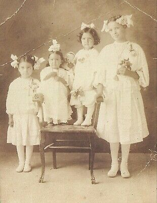 Vintage Old 1920's Photo of Beautiful Hispanic Little Girls 4 Sisters with Doll