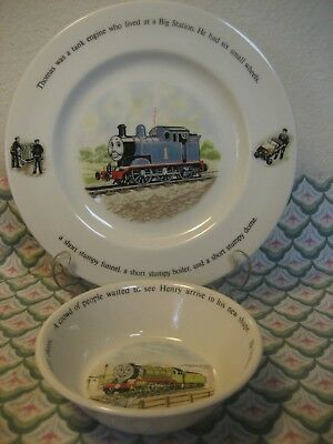 Wedgwood Thomas the Tank 1 Dinner Plate & Henry 1 Cereal / Soup Bowl  VGC
