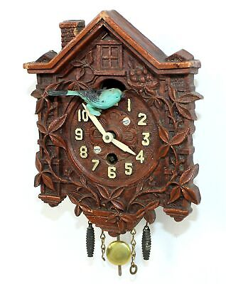 VINTAGE LUX NOVELTY CUCKOO CLOCK with BLUE SLIDING BIRD - TB66