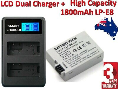 OEM 1800mAh Battery / LCD Charger For Canon LP-E8 EOS Kiss X4 550D 600D 700D T3i
