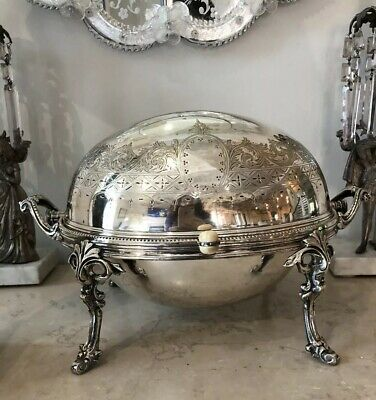 Antique EDWARDIAN ART NOUVEAU SILVER PLATE DOME ROLL TOP BACON FOOD WARMER Dish
