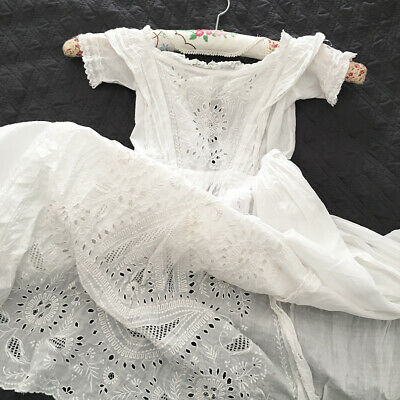 Antique victorian hand embroidered cotton baby christening dress / doll lace