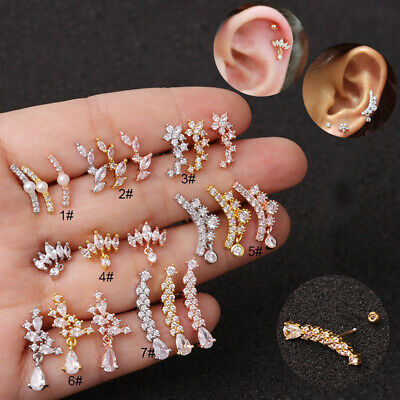 Surgical Steel Crystal Ear Stud Tragus Helix Cartilage Barbell Earrings Jewelry