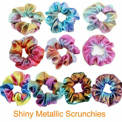 10PCS New Shiny Fabric  Hair Scrunchies Ponytail Holder Elastic Hair Ties Bands