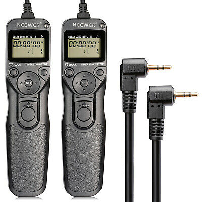 Neewer 2 Pack LCD Timer Shutter Release Remote Control Cord RS-60E3 for Canon