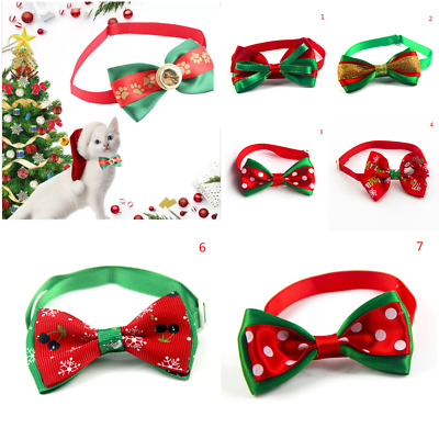 Cute Christmas Dog Cat Pet Tie Bowknot Necktie Collar Bow Clothes Xmas Gifts