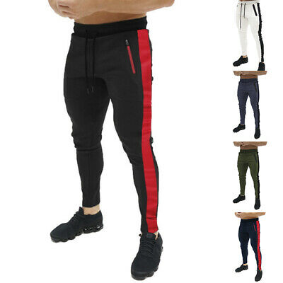 Men Slim Fit Stripe Tracksuit Bottoms Skinny Joggers Sweat Pants Gym Trouser _gu