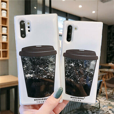For Samsung Galaxy Note 10 Plus S10 S9 Move Quicksand Coffee Cup Soft Case Cover