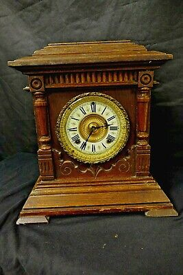 ANTIQUE OAK CASED SHARON 8 DAY STRIKING MANTLE CLOCK BY ANSONIA USA c1890(TR)