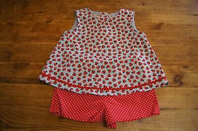 Handmade girls vintage retro romany top shorts set age 3 ladybirds red spot
