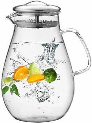 64 OZ Glass Pitcher Jug Water Juice Tea Carafe Cold Drinks With Stainless Lid