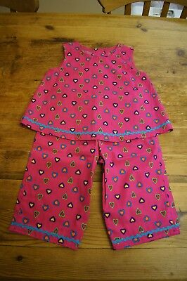 Handmade girls vintage retro romany top trousers age 3 hot pink coloured hearts