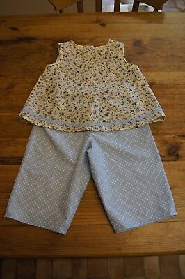 Handmade girls vintage retro romany top trousers set age 3 blue flowers spots