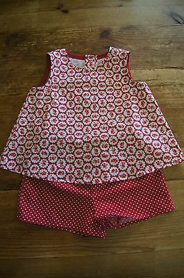 Handmade girls vintage retro romany top shorts set red bubble roses spot age 4