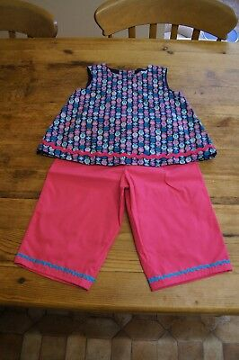 Handmade girls vintage retro romany top trousers age 4 blue pink teal circles