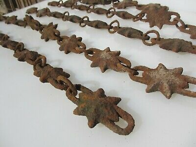 Antique Cast Iron Chain Tie Ornate Star Vintage Old Design Cordoned Off Area 28""