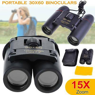 Compact 30 x 60 Binoculars Foldable Roof Prism Pocket With Carry Case Camping IR