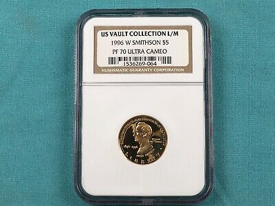 1996-W US Mint 5 Dollar Gold Proof Coin Commem Smithsonian PF70 Ultra Cameo NGC