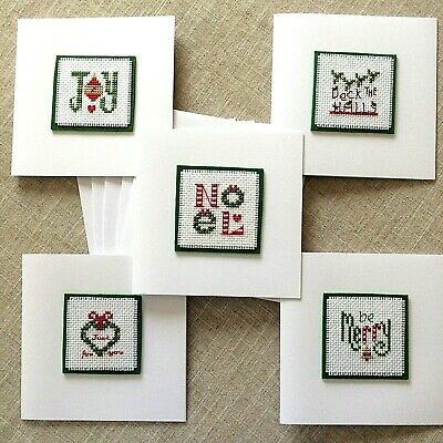 """Set of 5 Completed Cross Stitch Card 5 x 5"""" Cute Assorted Christmas Motifs"""
