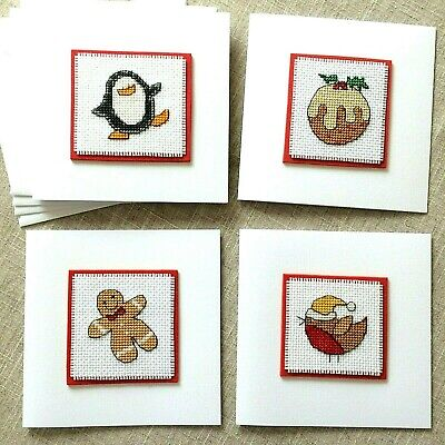 """Set of 4 Completed Cross Stitch Card 5 x 5"""" Cute Assorted Christmas Motifs"""