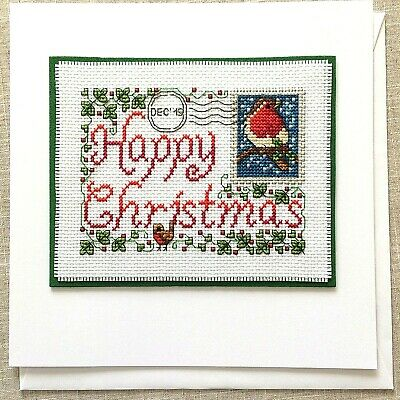 """Handcrafted Completed Cross Stitch Card Large 8 x 8"""" Christmas Postcard Dec '19"""