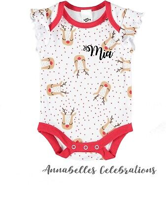 Custom Print Baby First Christmas Jumpsuit Gift Personalised Name Outfit Xmas