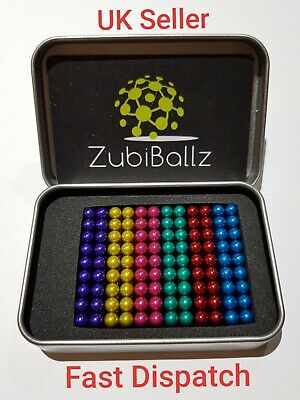 Zubiballz 216 pcs 5mm Rainbow colour magic mini metal balls puzzle cube beads