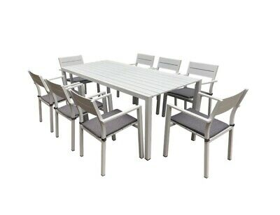 Mimosa Outdoor Patio 9 Piece Aluminium Dining Setting 8 Padded Chairs and Table