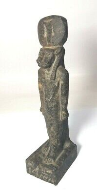 Very Rare Sekhmet Granite Stone Sculpture Ancient Black Egyptian Antique Faience