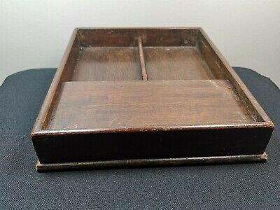 Antique Letter Rack Holder Desk Top Wood Wooden Writing Slope Vintage Box