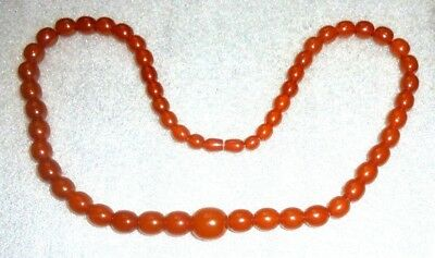 fine old natural butterscotch amber bead necklace