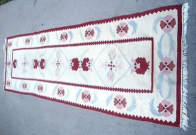 "old hand woven carpet runner rug 30"" x 7' 6"" turquoise feather red trim"