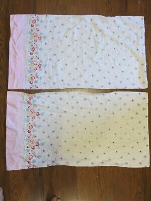 "Pair Vintage Border Edge Print Pillowcases Pink Floral 18"" x 32"""