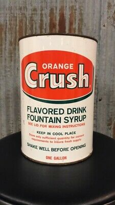 Original Orange Crush 1 Gallon Syrup Can Soda Pop Can