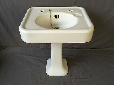 "Antique 24"" Cast Iron White Porcelain Pedestal Sink Old Vtg Bathroom 220-19E"