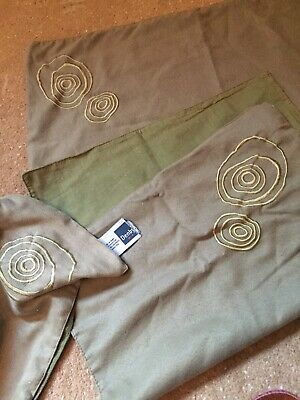 Denby Khaki Green Embroidered Placemats X 4 Set