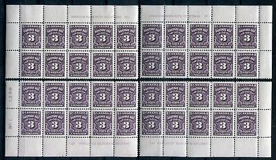 x16 - CANADA Scott J16B MNH Plate Blocks of 10. 3¢ Fourth Postage Due Issue