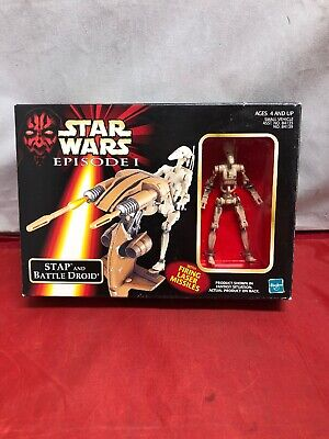 Star Wars Episode 1 STAP and BATTLE DROID with Firing Laser Missiles 1998 NIB
