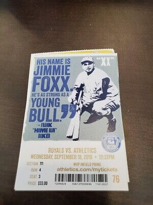 Oakland Athletics Kansas City Royals MINT Season Ticket 9/18/19 2019 MLB Stub