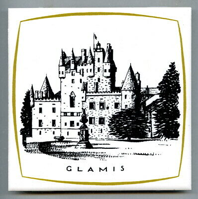 "Screen printed 6""sq tile from the Scottish Castles series by Dovecot Studio 1967"