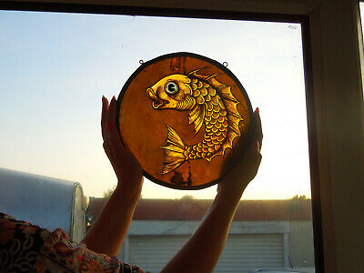 Interesting Stained Glass Fish Medieval Victorian Decorative