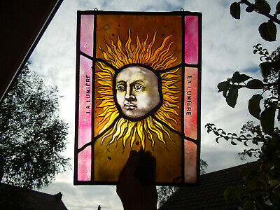 Stained Glass Fragment Sun Face Magic Witchcraft Tarot Medieval Victorian