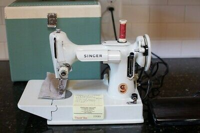 Vintage 1964 White 221 Singer Featherweight Sewing Machine with Green Case-Works