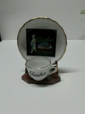 Alaska Souvenir Mini Cup and Saucer Plate Set With Stand