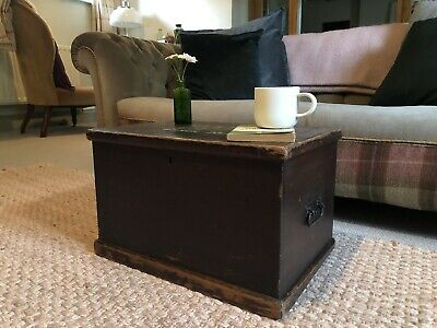 Old ANTIQUE SMALL PINE CHEST, Wooden Blanket TRUNK, Coffee TABLE Box Regimental