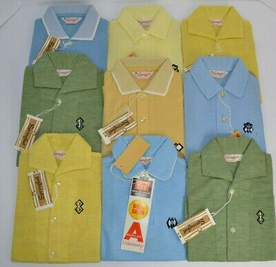 Vtg 1970's Lot of 9 Boy's Polo Shirts, Springfoot Sportswear All New Old Stock