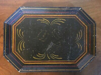 Antique 19th c. Paint Decorated American Octagonal Tole Tray Empire