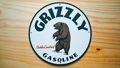 Vintage Grizzly Gasoline Porcelain Enamel 12'' Sign Gas Oil Pump Plate Rare Bear